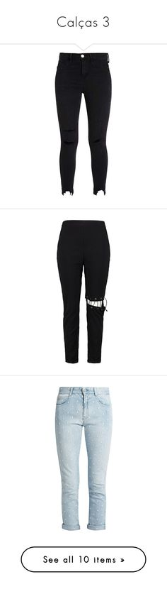 """""""Calças 3"""" by marymariamary ❤ liked on Polyvore featuring jeans, pants, skinny jeans, skinny fit jeans, super skinny jeans, skinny leg jeans, lace up pants, basic tshirt, lace up trousers and tailored trousers"""