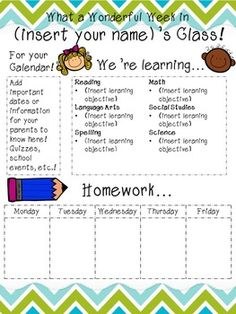 Staple this weekly newsletter to the front of homework packets at the start of the week for easy communication with parents!