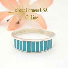 Turquoise Channel Inlay Navajo Wedding Band Ring Size 13 1/2 WB-1602 Four Corners USA OnLine Native American Silver Jewelry Wide Wedding Bands, Wedding Band Styles, Engagement Wedding Ring Sets, Engagement Ring Settings, Solitaire Engagement, Sterling Silver Mens Rings, Silver Jewelry, Navajo Wedding, Handmade Wedding Rings