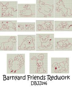 Embroidery Designs | Free Machine Embroidery Designs | JuJu Barnyard Redwork