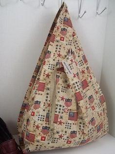 Reusable Grocery Bag // American Flag Pattern (Beige) belt and hook | reusable bag, reusable shopping bag, vegan bag, ecobag, eco-friendly