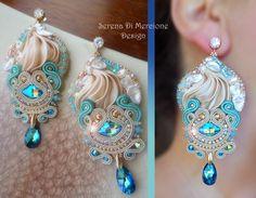 Silk Earrings - Designed by Serena Di Mercione - Beadembroidery and Soutache - Shibori silk, Swarovski, pearls.