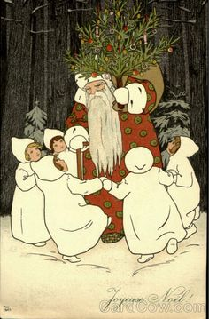 Pauli Ebner (Austrian 1873-1949) -Vintage Christmas Postcard Santa with Dancing children