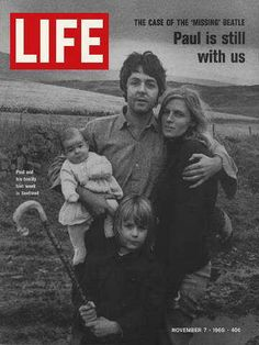 "Paul McCartney and family - Life Magazine, November 7, 1969 issue - Visit http://oldlifemagazines.com/the-1960s/1969/november-07-1969-life-magazine.html to purchase this issue of Life Magazine. Enter ""pinterest"" for a 12% discount at checkout. -  Paul McCartney and family"