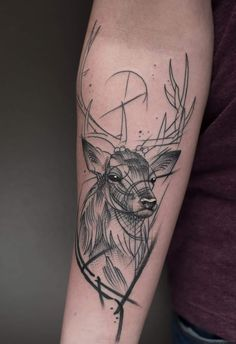 Stag tattoo by Jack Mangan at the Ink Factory Dublin Ireland Bull Tattoos, Body Art Tattoos, Tattoo Sleeve Designs, Sleeve Tattoos, Tattoos For Women Small, Tattoos For Guys, Cervo Tattoo, Hirsch Tattoos, Deer Hunting Tattoos