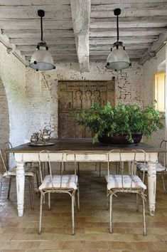 White brick wall....love the exposed brick wall.  Wish I had something like this in my home!!