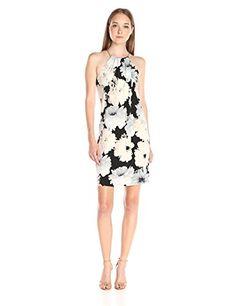 Calvin Klein Womens Coil Neck Halter Dress BlackMulti Medium