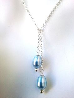 Light Blue Pearl Lariat Necklace in Sterling Silver by LaLaCrystal,