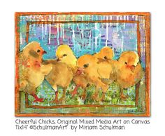 Yellow Chicks  Watercolor painting  animal art  by SchulmanArts