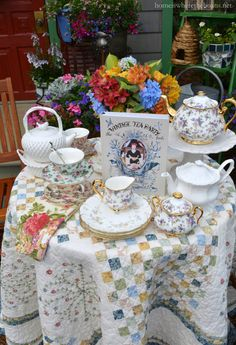 Vintage Tea Party by the Potting Shed   homeiswheretheboatis.net