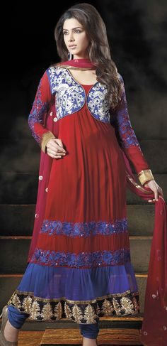 #Red Faux Georgette #SalwarFashion   @ $103.34   Shop It Here: http://www.sareegalaxy.com/pages/itemlarge.aspx?itemcode=KVD11Z21970