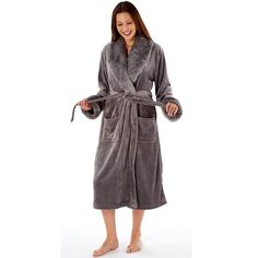 Francesca Ladies Luxury Dressing Gown - Nod and a Wink Charcoal or Black Buy Bra, Peignoir, Nightwear, Night Gown, Hoods, Dressing, My Style, Lady, Cotton