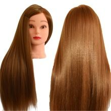 Wig Stands Hearty Synthetic Mannequin Head Female Hair Head Doll 22 Inches Mannequin Doll Head Hairdressing Training Heads Styling With Fiber