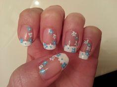 french tip flower spring nail art