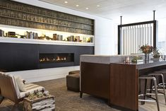 New York Marriott at the Brooklyn Bridge Fireplace Seating Area