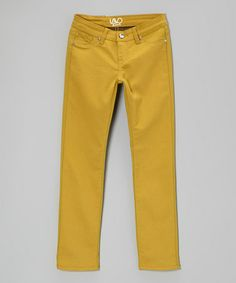 Take a look at this Mustard Twill Skinny Pants by Lavo Collections on #zulily today!
