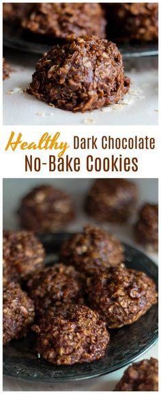 Healthy Dark Chocolate No-Bake Cookies {Gluten-Free, Vegan & Non-Dairy too!} - A decadent, truly satisfying dark chocolate no-bake cookie chocked full of old-fashioned rolled oats, dark chocolate, vanilla almond milk, vanilla and almond butter. {Gluten-Free, Vegan & Non-Dairy too!} #vegan #glutenfree #oats #no bake #cookies #almondbutter #peanutbutter #dark chocolate