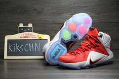 ea1a64399f7 WMNS LeBron 12 GS Red White Lion Heart Nike Sweatpants