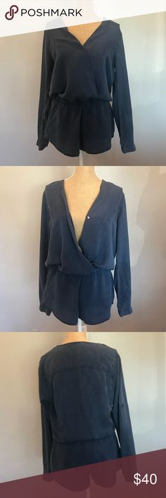 78296245f66 NWOT Cloth and Stone Cross Long Sleeve Romper Wrap front with button  closure Elastic waist Button