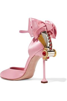 Heel measures approximately 105mm/ 4 inches Baby-pink satin Buckle-fastening ankle strap Designer color: Petalo  Made in Italy