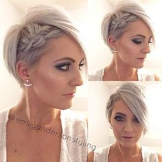 Wedding Hairstyles Pixie Cut Hairstyle with a Side Braid - Looking for a way to wear your hair for the big day? Check out these 31 wedding hairstyles for short to mid length hair for inspiration! Pixie Hairstyles, Pixie Haircut, Pretty Hairstyles, Prom Hairstyles, Popular Hairstyles, Latest Hairstyles, Hairstyle Ideas, Braids For Short Hair, Short Hair Cuts