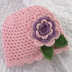 Crochet Flower Hat for Baby.