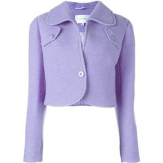 Carven Short Peacoat ($414) ❤ liked on Polyvore featuring outerwear, coats, jackets, peacoat coat, short pea coat, purple coat, carven coat and short coat
