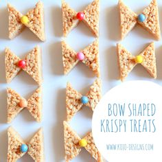 how to make bow shaped rice krispy treats - fun for a baby shower (bow ties or hair bows?) by fay Little Man Birthday, Baby Birthday, Birthday Ideas, Rainbow Birthday, Birthday Bash, Princess Birthday, Baby Shower Themes, Baby Boy Shower, Shower Ideas
