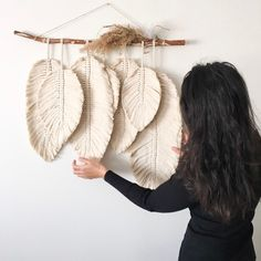 Excited to share this item from my shop: MACRAME FEATHERS macrame leaves Boho Macrame Wall Hanging Cotton Cord on a driftwood Perfect Cozy Home Wall Decor tribal wall ornament Macrame Wall Hanging Patterns, Boho Wall Hanging, Macrame Patterns, Macrame Wall Hangings, Bohemian Wall Decor, Etsy Macrame, Driftwood Macrame, Driftwood Wall Art, Macramé Art