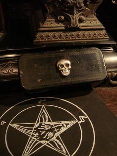Vintage Black Metal Skull Box