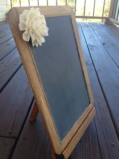 Wedding Chalkboard with Easel - Framed Shabby Chic Rustic Chalkboard - 7x10 Size Chalkboard - Chalkboard Photo Prop