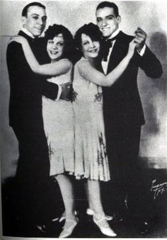 Daisy and Violet Hilton (conjoined twins), with the Dallas Boys, another set of vaudeville twins, 1926