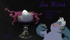 Disney Themed Cocktails Are Magically Boozy - Cocktails by Cody: Sea Witch (Ursula - The Little Mermaid) Disney Cocktails, Cocktail Disney, Disney Themed Drinks, Party Drinks, Cocktail Drinks, Fun Drinks, Yummy Drinks, Alcoholic Drinks, Cocktail Recipes