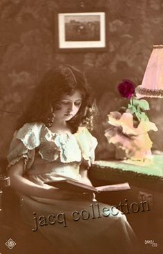 postcard - girl reading