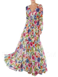 Ericdress Red Printing Maxi Style Dress  Maximum Style