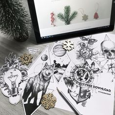 Dotwork wolf compass travel tattoo design - free design package with 12 designs available until 01-01-2018! Happy new year!