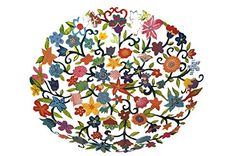 Fruit Bowl Serving Salad Centerpiece - Yair Emanuel LARGE BOWL LASER CUT HAND PAINTING FLOWERS -- For more information, visit now (This is an amazon affiliate link. I may earn commission from it)