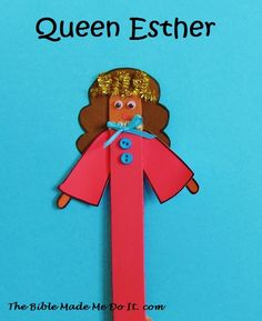 A puppet of Queen Esther to make from a jumbo craft stick. An easy and quick craft! Bible Story Crafts, Bible Stories, Bible Study Lessons, Children's Church Crafts, Queen Esther, Christian Crafts, Bible Activities, Vacation Bible School, Sunday School Crafts