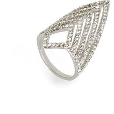 BCBGMAXAZRIA Pave Chevron Ring ($27) ❤ liked on Polyvore featuring jewelry, rings, silver, thin rings, bcbgmaxazria, pave ring, pave jewelry and chevron jewelry