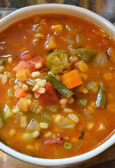 Super Quick Vegetable Barley Soup Make this healthy vegetarian soup in 15 minutes! - a close up of Vegetable Barley Soup recipe Vegetarian Soup, Vegetarian Recipes, Cooking Recipes, Healthy Recipes, Healthy Food, Cooking Fish, Healthy Vegetables, Vegetable Barley Soup, Vegetable Soup Recipes