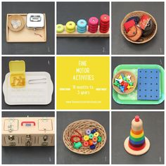 Some inspiration for you! Here are the activities on the shelves at the moment in the fine motor area of my classroom for my toddler classes. 1. Coin posting 2. Stacking by colour and number 3. Opening and closing purses to find little objects 4. Practising tongs with pebbles and an ice cube tray 5. Peg board 6. Lock box 7. Threading beads onto string 8. Stacking toy #montessori #toddler #activities