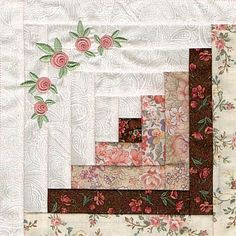"""Skeldale House - In The Hoop quilt square. The perfect square every time. The embroidered roses add a nice effect! """"Skeldale House - In The Hoop quilt squ Log Cabin Quilt Pattern, Log Cabin Quilts, Quilt Block Patterns, Quilt Blocks, Log Cabins, Quilt Kits, Quilting Projects, Quilting Designs, Machine Embroidery Designs"""