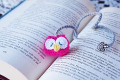 Bright Fuchsia Pink BABY amigurumi OWL BOOKMARK  / gift for readers children owl lovers / party favor / Christmas holiday present by SoftCute on Etsy https://www.etsy.com/listing/211495992/bright-fuchsia-pink-baby-amigurumi-owl
