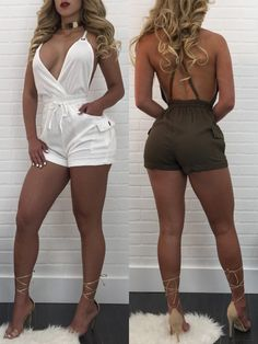 Shirring Waist Crisscross Pocket Plunge R omper Sexy Outfits, Chic Outfits, Sexy Dresses, Summer Outfits, Fashion Outfits, Womens Fashion, Summer Dresses, Looks Plus Size, Summer Fashion Trends