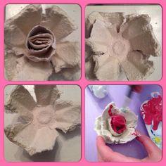 Roos/bloem van een eierdoos