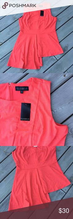 """🌷HP🌷NWT Eloquii Asymmetric Coral Top Size 16 NWT Eloquii top - can be dressy, casual, or career style depending on what you pair it with.  Bust across 21""""  Size 16  Has a tiny hole from a poorly placed store tag.  Happy poshing ♥️ Eloquii Tops Blouses"""