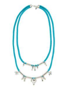 Double Strand & Multi-Shape Crystal Bib Necklace by Noir Jewelry