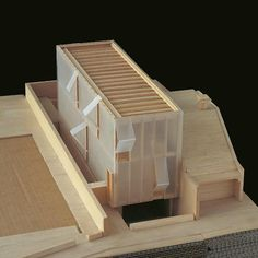 Westwood house sydney 2004 unbuilt balsa model sga sean godsell architects mimo studio adapts archetypal barn house to blend in with nature Maquette Architecture, Architecture Model Making, Architecture Panel, Concept Architecture, Architecture Design, University Architecture, Architecture Portfolio, Amazing Architecture, Planks