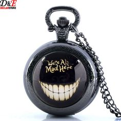 Black Alice In Wonderland Theme Pocket Watch Usually ships out within 2-5 days. Item Type: Pocket & Fob Watches Bezel Material Type: Stainless Steel Case Material: Stainless Steel Dial Window Material