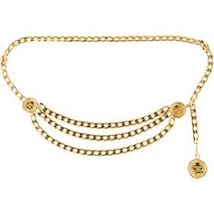 Pre-owned Chanel Medallion Chain Belt ($545) ❤ liked on Polyvore featuring accessories, belts, gold, chanel belt, chain belt, chain link belt and chanel